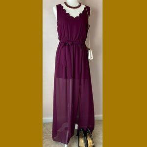Gown & Necklace Bundle Purple Medium